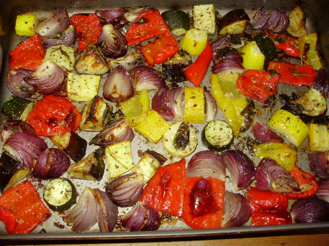 12a. After half an hour take trays out of oven & gently turn veg over