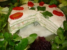 2. Smoked Salmon Pate & Watercress wrap layered cake showing the beautiful colour of the middle