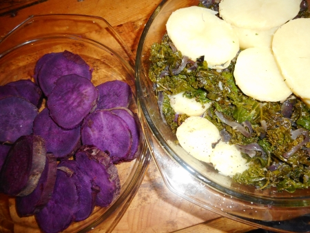 4. Layer the potatoes then kale, more potatoes then kale, and lastly more potatoes