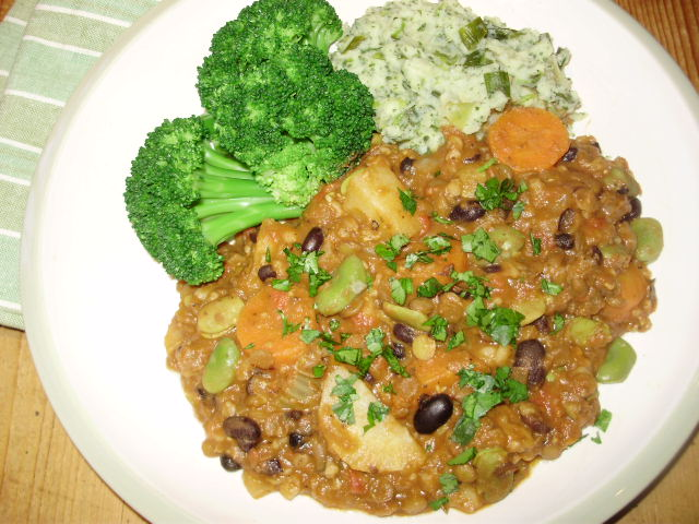 Vegetable, two bean & lentil hotpot. Served with watercress & green onion champ and homegrown broccoli