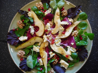 Organic Blue Cheese, pear, walnut & pomegranate seed salad