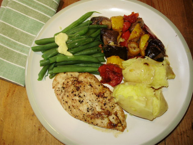 Roast ratatouille with grilled chicken breast, buttered French beans & Mayan Gold potatoes