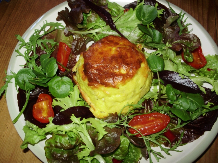 Twice-baked 2 cheese souffles with kefir curd cheese - served with a seasonal salad & semi-dehydrated Rosada tomatoes